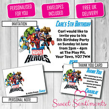 Personalised Marvel Heroes  Birthday Party  Invite /Thank You Card /  12