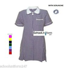 GIRLS SCHOOL SUMMER GINGHAM DRESS WITH SCUNCHY AGE 3 4 5 6 7 8 10 12 14 16 18 20