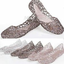 Hot Sale Women Summer Ventilate Crystal Shoes Jelly Hollow Sandals Flat Shoes