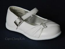 New Baby Girls White Dress Shoes Christening Baptism Mary Jane Toddler Party