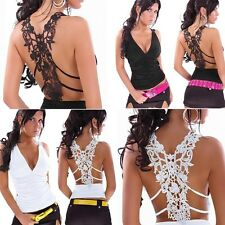 Sexy Womens Open Back Lace Crochet Tight V Neck Casual Party Clubwear Tank Top