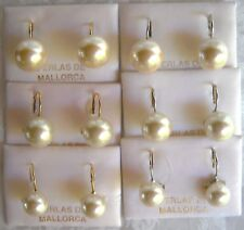 10, 12, 14MM WHITE, SHELL HANGING MAJORCA/MALLORCA PEARL EARRINGS faux majorica