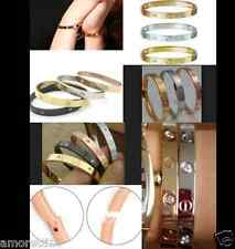 CZ Trendy Screw Bangle Hinged Cuff SILVER or GOLD Crystal Bracelet  Men Woman