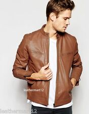 100% Genuine Lambskin Leather Designer Biker Jacket Blazer Men's - Brown