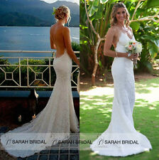 Sexy Backless Beach Lace Wedding Dresses Mermaid Bridal Gowns Custom Size 14 16