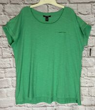 NEW Style Co Slub Shirt Front Pocket Stretch Top Green Blue Teal Plus sz 1X 3X