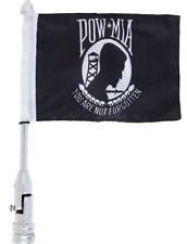 Diamond Plate Motorcycle Flagpole Mount With MIA/POW Flag