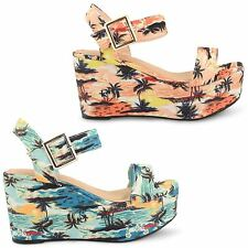WOMENS LADIES DOLCIS CHUNKY FLATFORM SANDALS WEDGES PLATFORM ANKLE STRAP SHOES