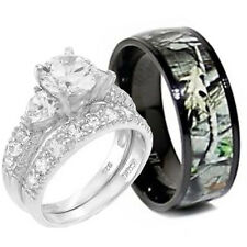His and Hers Titanium Camo 925 SILVER Heart Stone Engagement Wedding Rings Set