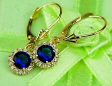 14k Yellow Gold Halo Dangle Round Leverback Pierced Earrings Birthstone