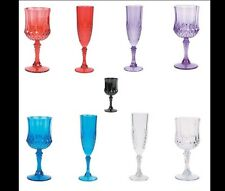 12 x Faux Crystal Style Disposable Party Wine Glasses or Champagne Flutes