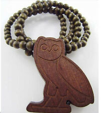 1 x Popular Hip-Hop Owl Pendants Wood Rosary Bead Necklaces Best Gift 36""