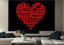 Love Heart Love Quote Wall Sticker Decal Mural Transfer Stencil Art Vinyl