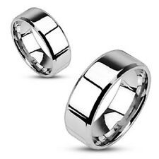 Modern Polished Flat Wedding Band Glossy Beveled Edge 316L Stainless Steel Ring
