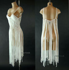 New White Fringe Benefits Knotty Textured 11996 Macrame Tank Dress Top S M L