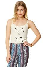 Billabong Moon 2 Moon Cropped Cami Tank Top Womens Ivory Graphic New NWT