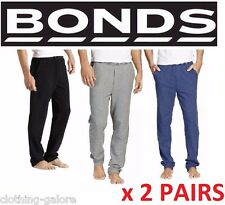 2 PAIRS x BONDS MENS MEN'S EASY LOGO TRACKIE BLACK GREY GYM  PANTS BULK TRACKIES