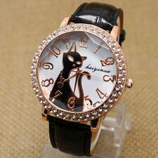 New Fashion Lovely Cat Crystal Dial Quartz Wrist Watch Leather Band Women Gifts