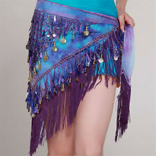 Unused Hot Belly Dance Hip Scarf Tribal Triangle Tassel Belt Gold coins Currents