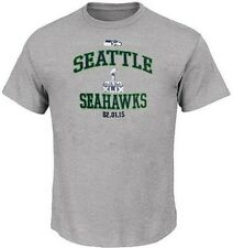 Seattle Seahawks NFL Majestic Super Bowl 2015 T Shirt Gray Big And Tall Sizes