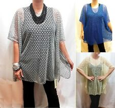 Sheer Tunic Lace Top Net Knitted Boho Cover Up Blouse Poncho S M L XL 1x 2x NEW