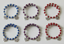 PEARL  BRACELET WITH HAPPY BIRTHDAY &  FAMILY MEMBER CHARM CHOICE 6 COLOURS