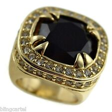 BLACK ONYX Synthetic Stone HIP HOP Heavy PINKY RING Mens GOLD PLATED Size 7-11