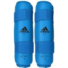 New adidas Karate Shin Protector Leg Guard Sparring Gear WKF Approved-RED, BLUE
