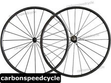 NEW Carbon Road Bicycle Wheel 24mm Clincher/Tubular Powerway R13 Hubs+424 Spokes