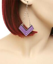 NEW..Sassy glam fashion gold or silver chevron shape dangle earrings..7 colors