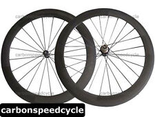 Straight Pull Carbon Road Bicycle Wheel 60mm Clincher/Tubular Powerway R36 Hubs