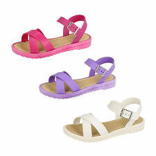 Girls H0136 PVC Lilac, White Or Fuchsia Open Toe Buckle Strap Sandals