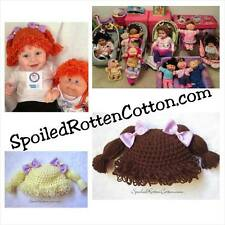 Cabbage Patch Kid Crochet Hat Wig With Pigtail Braids and Purple Bows on Top