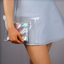 Holographic Metallic Mirror Silver Hologram Leather Envelope Clutch Pouch Mini