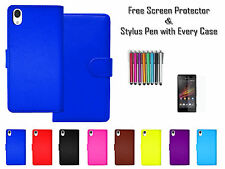 Premium Leather Pu Flip Wallet Case Stand Cover Card Holder For Sony Xperia M4