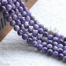 Natural Round Amethyst Jewelry Making loose gemstone beads jewelry strand 15""