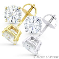 Forever Brilliant 1.50 ct Round Cut Moissanite 14k Gold Screwback Stud Earrings