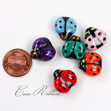 12/24/50pcs 17x16mm Porcelain Ceramic Ladybug Beads - Handpainted