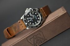 MA WATCH STRAP 20 MM CALF LEATHER AGED VINTAGE HANDMADE UNIVERSAL OIL BROWN I