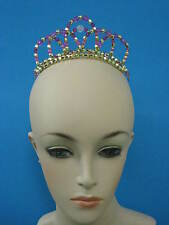 *Ready to post* GOLD HOT PINK MIX BEADED Mini AURA TIARA Ballet Dance Headpiece