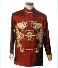 Traditional Men's silk Embroidery Dragon Kung Fu Jacket/Coat Sz: M L XL 2XL 3XL