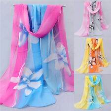 Women Girl Chiffon FLoral Long Soft Neck Scarf Shawl Scarves Stole Wraps Fashion