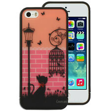 NEW Birdcage Black Cat Pink Hard Back Case Cover for Apple iPhone 4S 4 5S 5