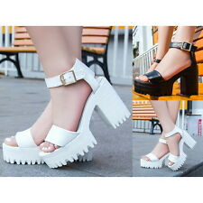New Womens Ankle Strap Platform High Heels Pumps Cleated Sole Sandals Shoes