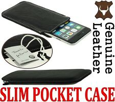 SLIM PREMIUM POCKET CASE COVER GENUINE LEATHER SLEEVE POUCH  - RANGE OF MODELS