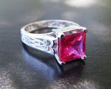 S336 Sterling Silver Antique Style Filigree Ring 2 Carat Lab Dark Pink Sapphire