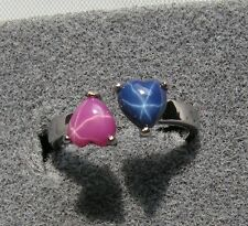 HEART LINDE LINDY CF BLUE PINK STAR SAPPHIRE CREATED SECOND RING STAINLESS STEL