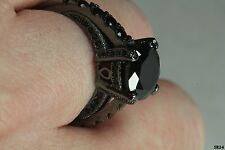 Gothic Vintage Style Bridal Engagement Ring Black Rhodium Plated Sterling Silver