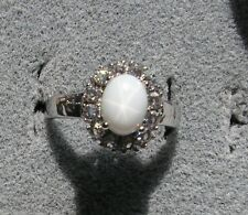 HALO LINDE LINDY WHITE STAR SAPPHIRE CREATED SECOND RING STAINLESS STEEL