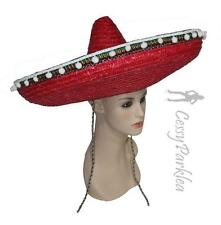 Red Navy Blue Handmade Straw Mexican Spanish Western Cowboy Sombrero Big Hat